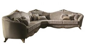 Donatello Contemporary Corner Sofa in Gold & Ivory