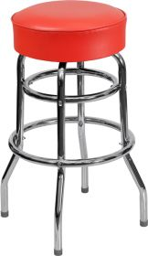 Double Ring Chrome Barstool with Red Seat [XU-D-100-RED-GG]