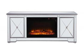"Dover 60"" Mirrored TV Stand with Wood Insert Fireplace in Antique Silver"
