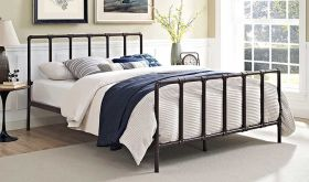 Dower Modern Stainless Steel Queen Bed in Brown