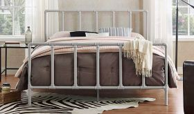 Dower Modern Stainless Steel Queen Bed in Gray