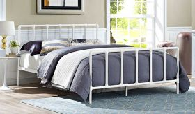 Dower Modern Stainless Steel Queen Bed in White