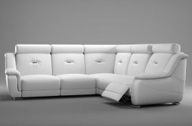 Waco Sectional Sofa with 2 Power Recliners in White
