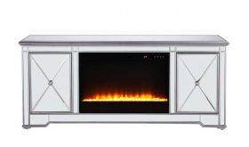 "Dresden 60"" Mirrored TV Stand with Crystal Insert Fireplace in Antique Silver"