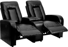 Eclipse Series 2-Seat Motorized, Push Button & Automated Reclining Black Leather Theater Seating Unit with Cup Holders [BT-70259-2-P-BK-GG]