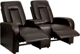 Eclipse Series 2-Seat Motorized, Push Button & Automated Reclining Brown Leather Theater Seating Unit with Cup Holders [BT-70259-2-P-BRN-GG]
