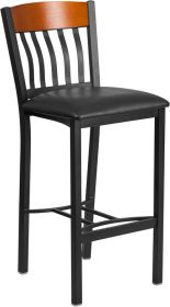 Eclipse Series Vertical Back Black Metal and Cherry Wood Restaurant Barstool with Black Vinyl Seat [XU-DG-60618B-CHY-BLKV-GG]