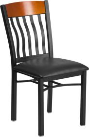 Eclipse Series Vertical Back Black Metal and Cherry Wood Restaurant Chair with Black Vinyl Seat [XU-DG-60618-CHY-BLKV-GG]