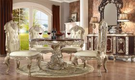 Edge Traditional Dining Room Set in Metallic Silver