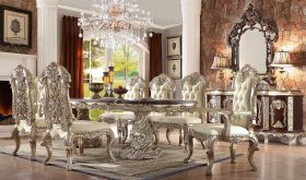 Edgewater Traditional Dining Room Set in Metallic Silver