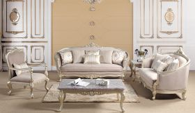Elanor Traditional Living Room Set in Champagne