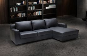 J&M Elizabeth Premium Leather Sectional Sofa Sleeper in Black with Left Facing Chaise
