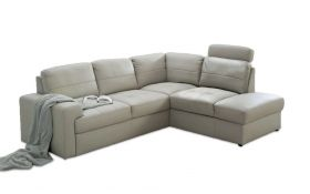 Dayton Modern Leather Sectional Sofa with Bed & Storage in White & Grey, Beige