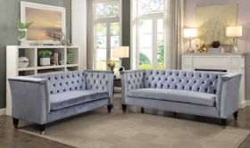 Ellie Traditional Living Room Set in Blue Gray