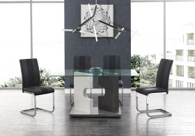 Elm Modern Dining Room Set in Gray & Black