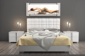 Elma Modern Upholstered Storage Bed in White