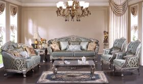 Eloy Traditional Living Room Set in Silver