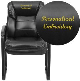 Embroidered Black Leather Executive Side Chair with Sled Base [GO-1156-BK-LEA-EMB-GG]