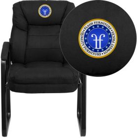 Embroidered Black Microfiber Executive Side Chair with Sled Base [GO-1156-BK-EMB-GG]