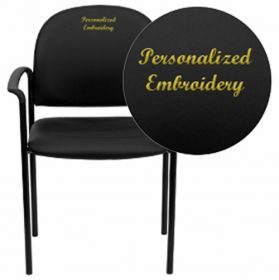 Embroidered Black Vinyl Comfortable Stackable Steel Side Chair with Arms [BT-516-1-VINYL-EMB-GG]
