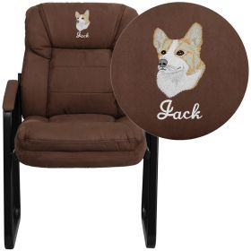 Embroidered Brown Microfiber Executive Side Chair with Sled Base [GO-1156-BN-EMB-GG]