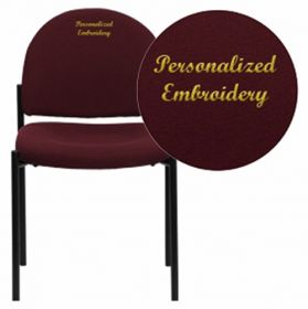 Embroidered Burgundy Fabric Comfortable Stackable Steel Side Chair [BT-515-1-BY-EMB-GG]
