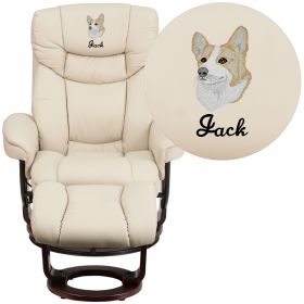 Embroidered Contemporary Beige Leather Recliner and Ottoman with Swiveling Mahogany Wood Base [BT-7821-BGE-EMB-GG]