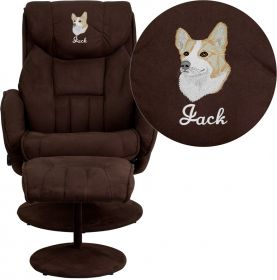 Embroidered Contemporary Brown Microfiber Recliner and Ottoman with Circular Microfiber Wrapped Base [BT-7895-MIC-PINPOINT-EMB-GG]