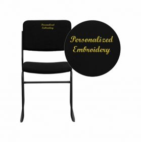 Embroidered HERCULES Series 1000 lb. Capacity High Density Black Fabric Stacking Chair with Sled Base [XU-8700-BLK-B-30-EMB-GG]