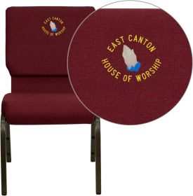 Embroidered HERCULES Series 18.5''W Burgundy Fabric Stacking Church Chair with 4.25'' Thick Seat - Gold Vein Frame [XU-CH-60096-BY-EMB-GG]