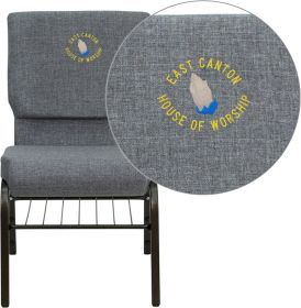 Embroidered HERCULES Series 18.5''W Gray Fabric Church Chair with 4.25'' Thick Seat, Book Rack - Gold Vein Frame [XU-CH-60096-BEIJING-GY-BAS-EMB-GG]