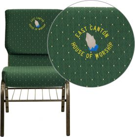 Embroidered HERCULES Series 18.5''W Green Patterned Fabric Church Chair with 4.25'' Thick Seat, Book Rack - Gold Vein Frame [XU-CH-60096-GN-BAS-EMB-GG]