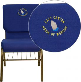 Embroidered HERCULES Series 18.5''W Navy Blue Fabric Church Chair with 4.25'' Thick Seat, Book Rack - Gold Vein Frame [XU-CH-60096-NVY-BAS-EMB-GG]