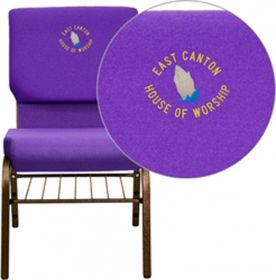 Embroidered HERCULES Series 18.5''W Purple Fabric Church Chair with 4.25'' Thick Seat, Book Rack - Gold Vein Frame [XU-CH-60096-PU-BAS-EMB-GG]
