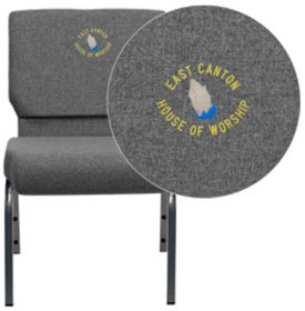 Embroidered HERCULES Series 21'' Extra Wide Gray Fabric Stacking Church Chair with 3.75'' Thick Seat - Silver Vein Frame [XU-CH0221-GY-SV-EMB-GG]