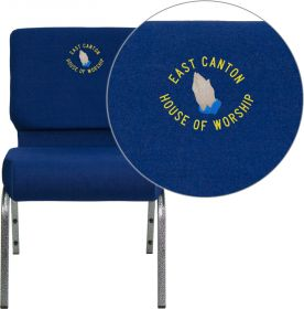 Embroidered HERCULES Series 21'' Extra Wide Navy Blue Fabric Stacking Church Chair with 4'' Thick Seat - Silver Vein Frame [FD-CH0221-4-SV-NB24-EMB-GG]