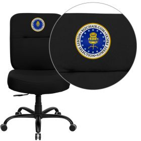 Embroidered HERCULES Series 400 lb. Capacity Big & Tall Black Fabric Executive Swivel Office Chair with Extra WIDE Seat [WL-735SYG-BK-EMB-GG]