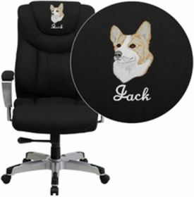 Embroidered HERCULES Series 400 lb. Capacity Big & Tall Black Fabric Executive Swivel Office Chair with Height & Width Adjustable Arms [GO-1534-BK-FAB-EMB-GG]
