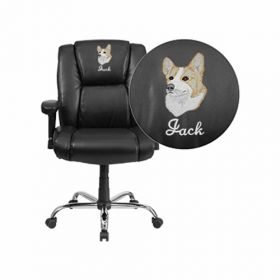 Embroidered HERCULES Series 400 lb. Capacity Big & Tall Black Leather Swivel Task Chair with Height Adjustable Arms [GO-2132-LEA-EMB-GG]