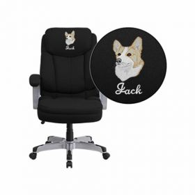 Embroidered HERCULES Series 500 lb. Capacity Big & Tall Black Fabric Executive Swivel Office Chair [GO-1850-1-FAB-EMB-GG]