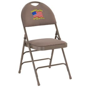 Embroidered HERCULES Series Extra Large Ultra-Premium Triple Braced Beige Fabric Metal Folding Chair with Easy-Carry Handle [HA-MC705AF-3-BGE-EMB-GG]