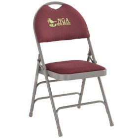 Embroidered HERCULES Series Extra Large Ultra-Premium Triple Braced Burgundy Fabric Metal Folding Chair with Easy-Carry Handle [HA-MC705AF-3-BY-EMB-GG]