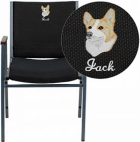 Embroidered HERCULES Series Heavy Duty, 3'' Thickly Padded, Black Patterned Upholstered Stack Chair with Arms and Ganging Bracket [XU-60154-BK-EMB-GG]