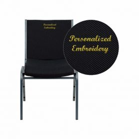 Embroidered HERCULES Series Heavy Duty, 3'' Thickly Padded, Black Patterned Upholstered Stack Chair with Ganging Bracket [XU-60153-BK-EMB-GG]