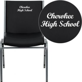 Embroidered HERCULES Series Heavy Duty, 3'' Thickly Padded, Black Vinyl Stack Chair with Ganging Bracket [XU-60153-BK-VYL-EMB-GG]