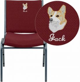 Embroidered HERCULES Series Heavy Duty, 3'' Thickly Padded, Burgundy Patterned Upholstered Stack Chair with Ganging Bracket [XU-60153-BY-EMB-GG]