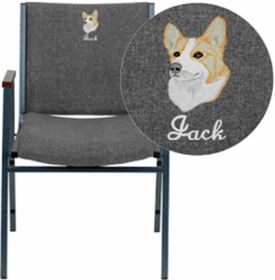 Embroidered HERCULES Series Heavy Duty, 3'' Thickly Padded, Gray Fabric Upholstered Stack Chair with Arms and Ganging Bracket [XU-60154-GY-EMB-GG]