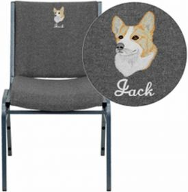 Embroidered HERCULES Series Heavy Duty, 3'' Thickly Padded, Gray Upholstered Stack Chair with Ganging Bracket [XU-60153-GY-EMB-GG]