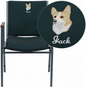 Embroidered HERCULES Series Heavy Duty, 3'' Thickly Padded, Hunter Green Patterned Upholstered Stack Chair with Arms and Ganging Bracket [XU-60154-GN-EMB-GG]