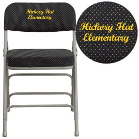 Embroidered HERCULES Series Premium Curved Triple Braced & Double Hinged Black Pin-Dot Fabric Upholstered Metal Folding Chair [AW-MC320AF-BK-EMB-GG]